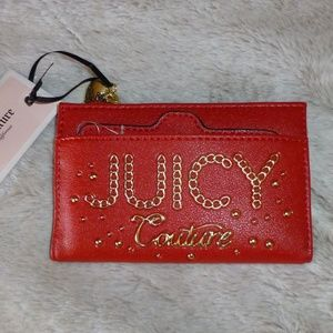 Juicy Couture Lime Light Red Wallet, Gold Trim New